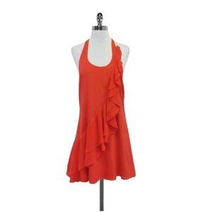 Alice + Olivia Ruffle Silk Halter Mini Dress